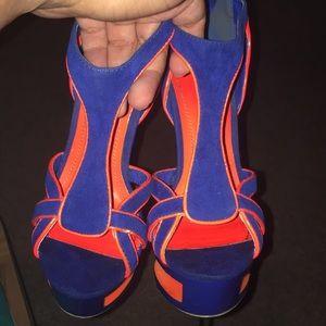 Neon orange and Navy blue heels